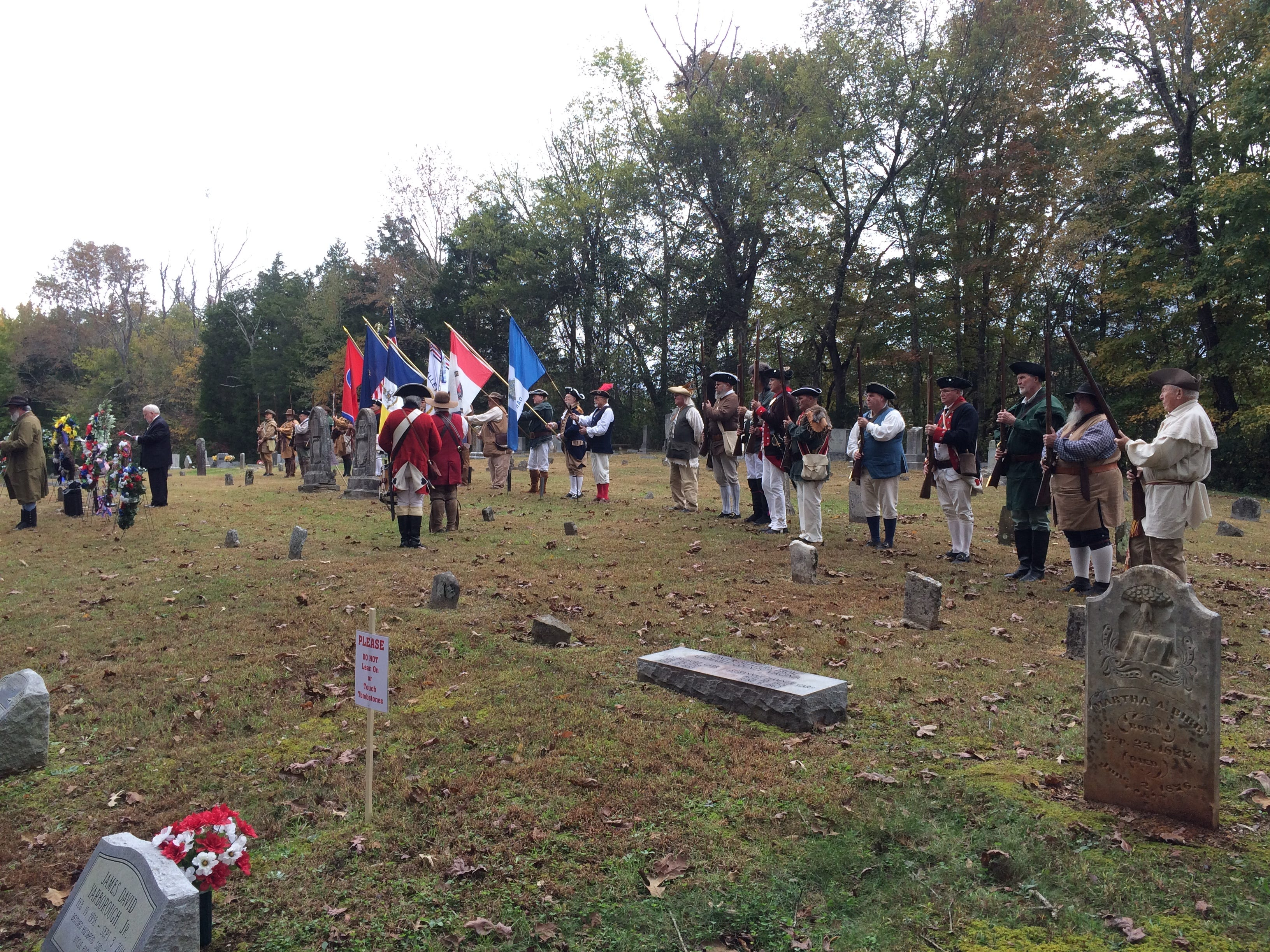 Ceremony honoring Gideon Carr at Stuart Cemetery in Dickson County.