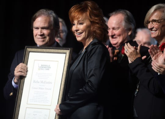 Reba McEntire receives the Career Maker Award during the 48th Anniversary Nashville Songwriters Hall of Fame Dinner and Induction Ceremony at the Music City Center Sunday, October 28, 2018.