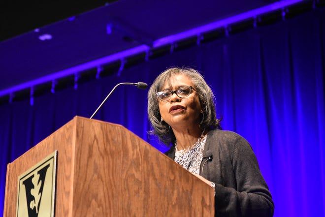 Anita Hill spoke about sexual harassment at Vanderbilt University Sunday.