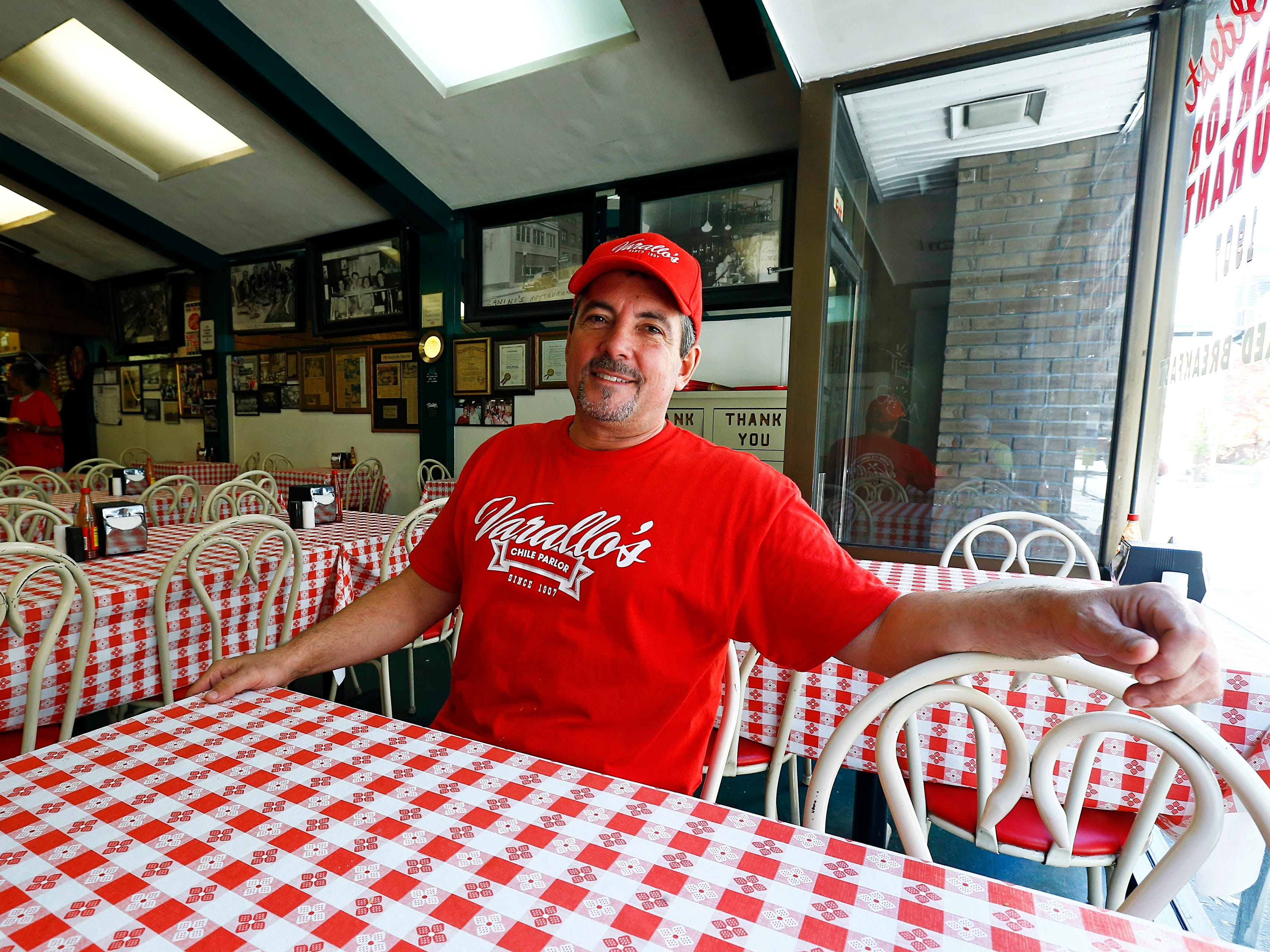 Todd Varallo, owner of Varallo's Chile Parlor & Restaurant, is seen Monday, Oct. 29, 2018, in Nashville, Tenn.