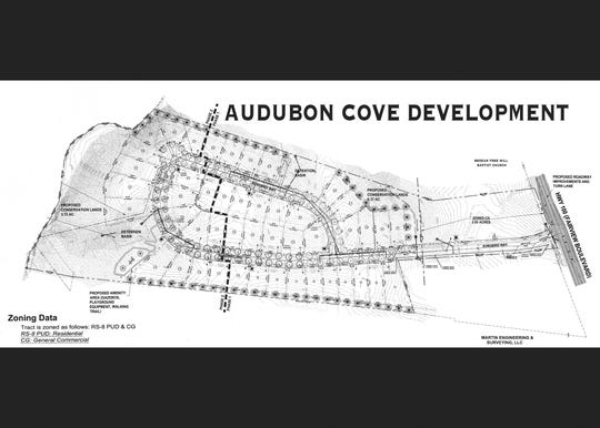 Preliminary plan for Audubon Cove Development to be located just off the 1800 block of Fairview Boulevard.