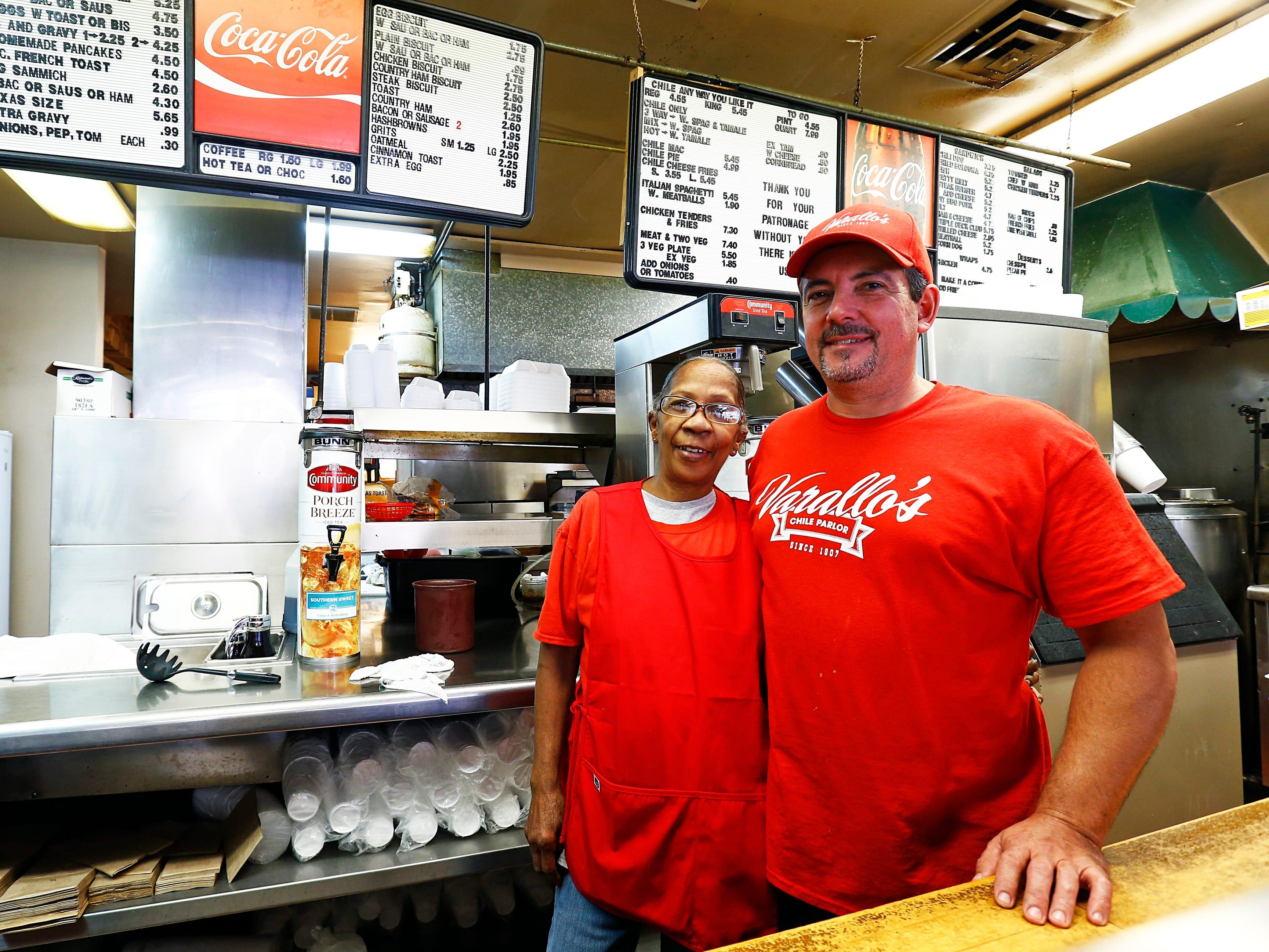 Todd Varallo, owner of Varallo's Chile Parlor & Restaurant, right, is seen with server Cheryl McKnight Monday, Oct. 29, 2018, in Nashville, Tenn.