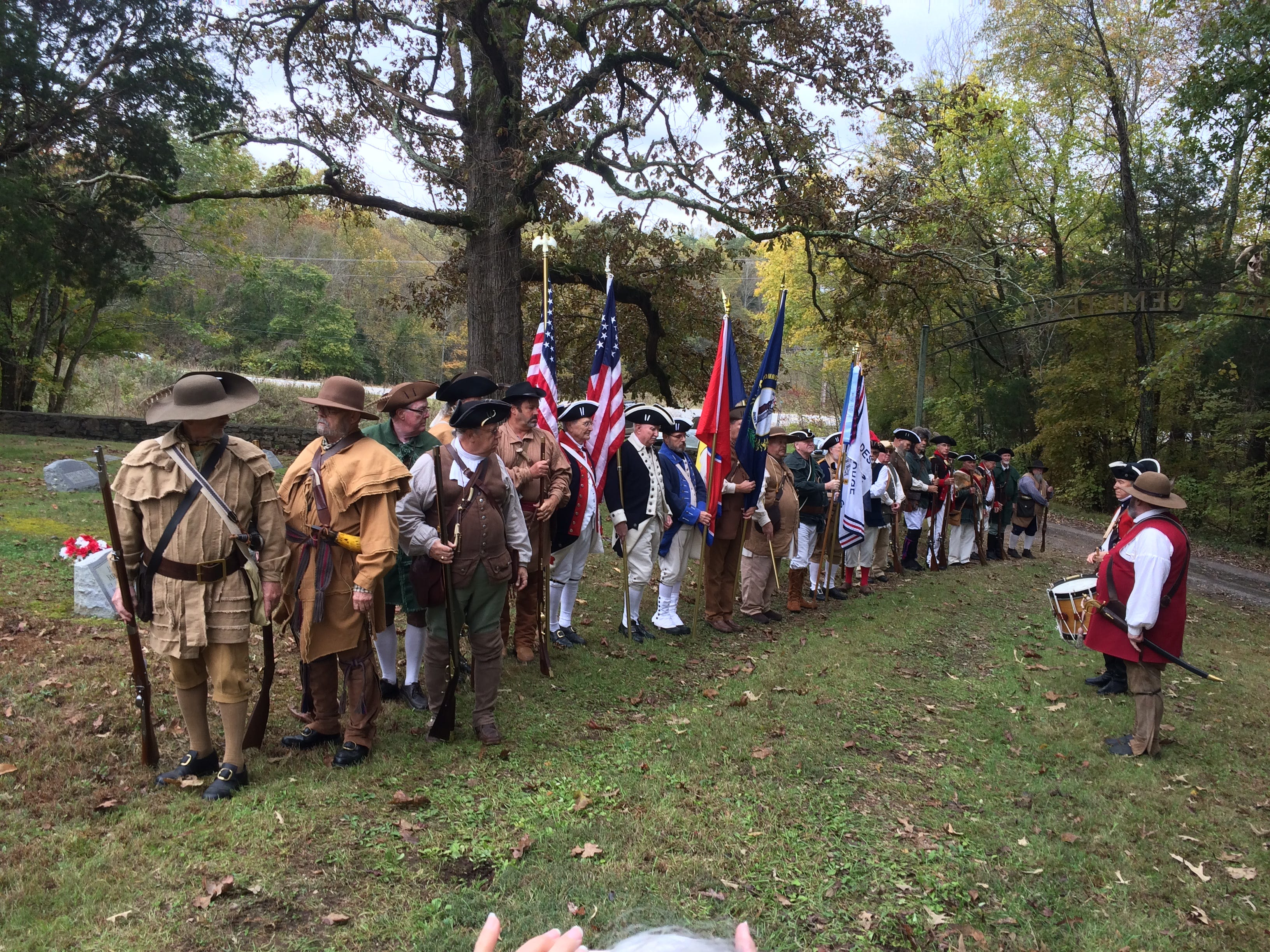 SAR members dressed in period outfits at the Ceremony honoring Gideon Carr at Stuart Cemetery in Dickson County.