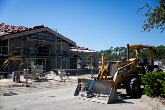Construction on a church expansion is ongoing near the site of a bald eagle's nest on Monday, October 29, 2018, at St. Leo Catholic Church in Bonita Springs.