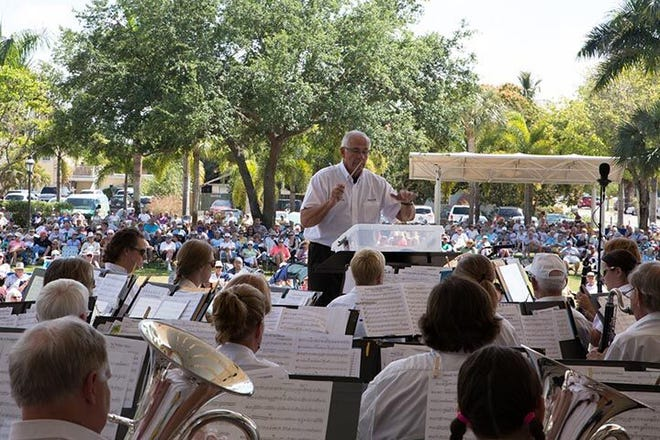 The Bonita Springs Concert Band performs free concerts in Riverside Park.