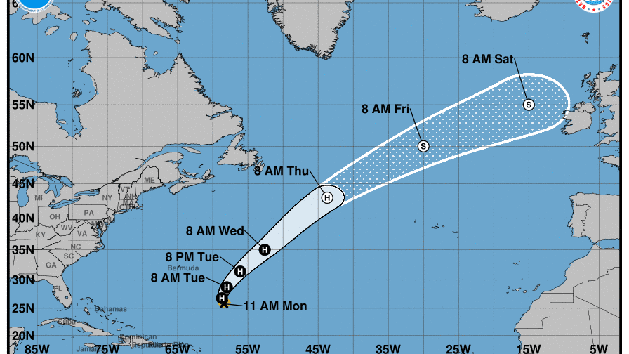 Path of Hurricane Oscar