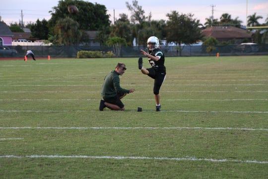 St. John Neumann kicker Katie Reinert warms up before a recent game against Community School