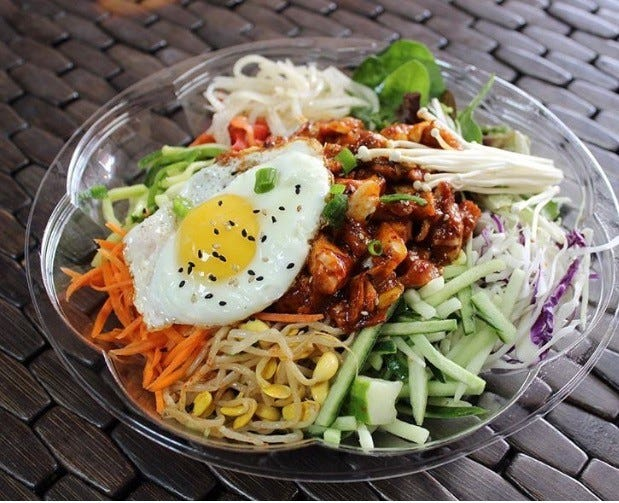 Among the dishes Kimchi Mama is known for: spicy chicken bibimbap
