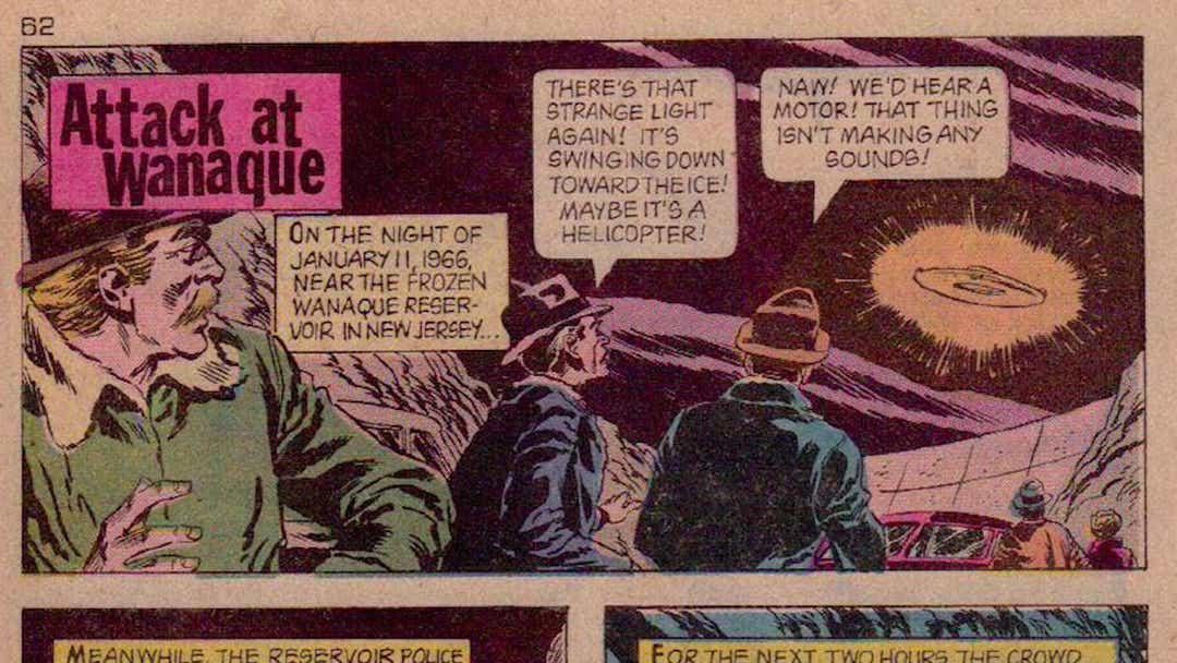 Fumetto degli anni '70 che raffigura gli avvistamenti UFO su Wanaque. northjersey