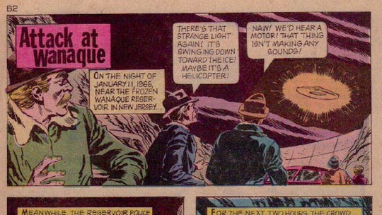 1970s comic depicting the UFO sightings over Wanaque.
