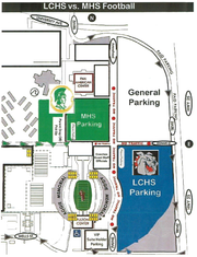 Parking map for Friday's Las Cruces-Mayfield football game at Aggie Memorial Stadium.