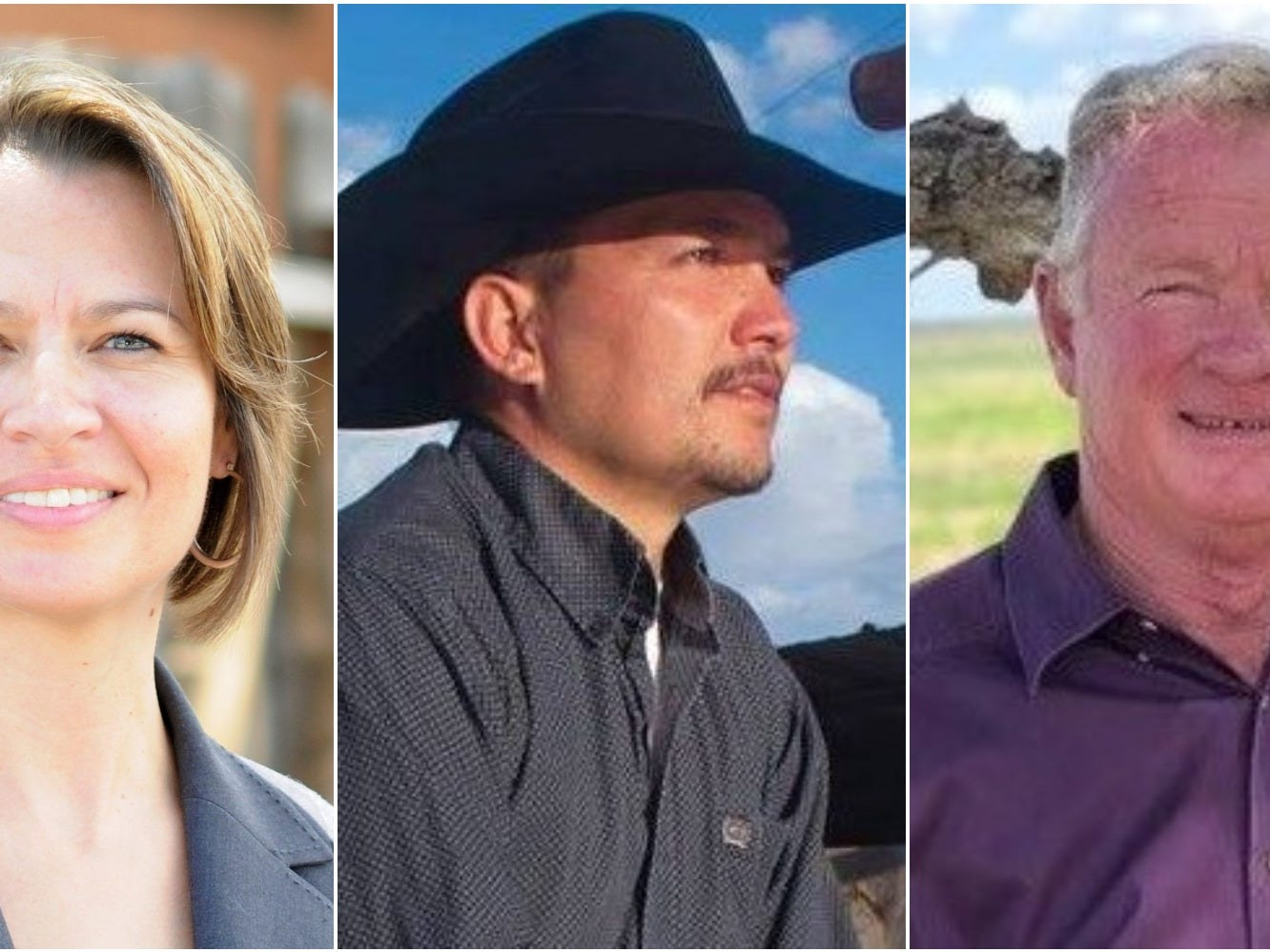 New Mexico Land Commissioner candidates Stephanie Garcia Richard, left; Michael Lucero, center; and Pay Lyons, right