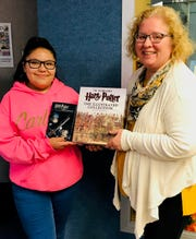 Ninth grader Mia Medrano and Beth Nieman, Youth Services Librarian for Carlsbad Public Library.