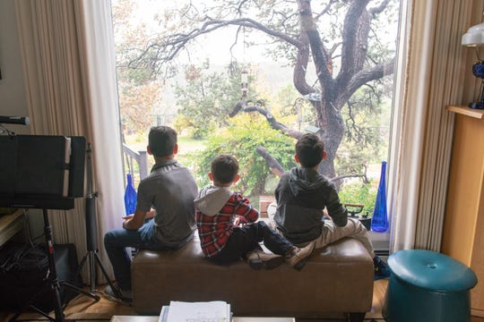 Three of Barnes' grandsons at home.