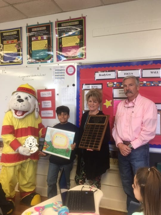 Fourth grade student, Jaziel Rocha, in Mrs. Ruiz's class at Craft Elementary School won the city wide fire prevention poster contest. This is such an honorable award from the Carlsbad Fire Department.