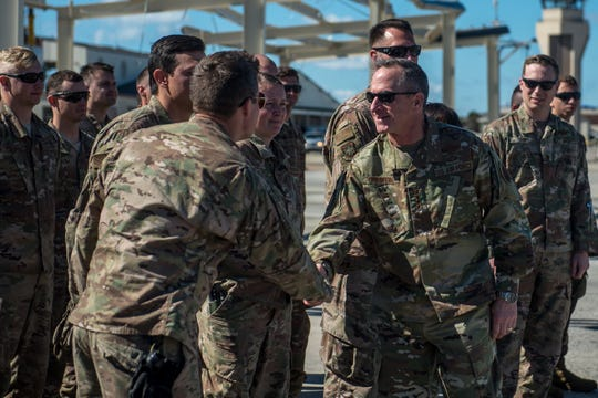 Air Force Chief of Staff Gen. David L. Goldfein visits troops Oct. 27, 2018, on Tyndall Air Force Base, Florida. Since Hurricane Michael swept the area, multiple major commands have mobilized assets to aid recovery operations at Tyndall to address catastrophic damage sustained by the base.