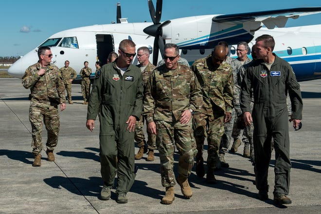 Air Force Chief of Staff Gen. David L. Goldfein and Chief Master Sgt. of the Air Force Kaleth O. Wright visit troops Oct. 27, 2018, on Tyndall Air Force Base, Florida. Since Hurricane Michael swept the area, multiple major commands have mobilized assets to aid recovery operations at Tyndall to address catastrophic damage sustained by the base.
