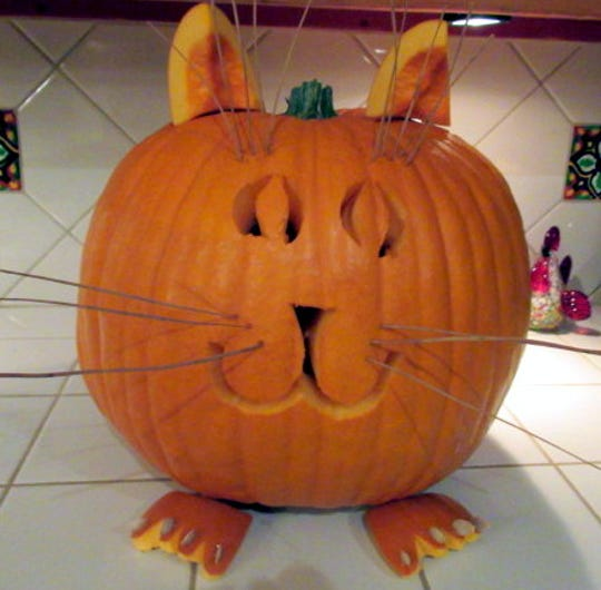 Fat Cat emerged from this pumpkin.