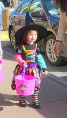 A wee witch trick or treated last year in midtown Ruidoso.