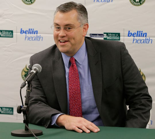 Steve Brandes, President, NBA G League Operations Milwaukee Bucks talks during the press conference.  The Wisconsin Herd of the NBA G League held their media day Thursday, Oct. 25, 2018, in the Menominee Nation Arena, Oshkosh, Wis.  The Herd is affiliated with the Milwaukee Bucks organization.