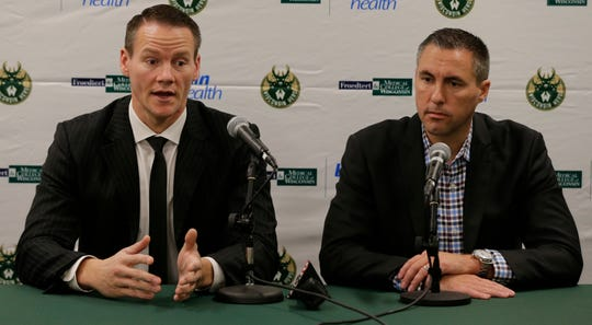 Jordan Brady, Herd head coach and Dave Dean, Herd general manager answer questions.  The Wisconsin Herd of the NBA G League held their media day Thursday, Oct. 25, 2018, in the Menominee Nation Arena, Oshkosh, Wis.  They are affiliated with the Milwaukee Bucks organization.