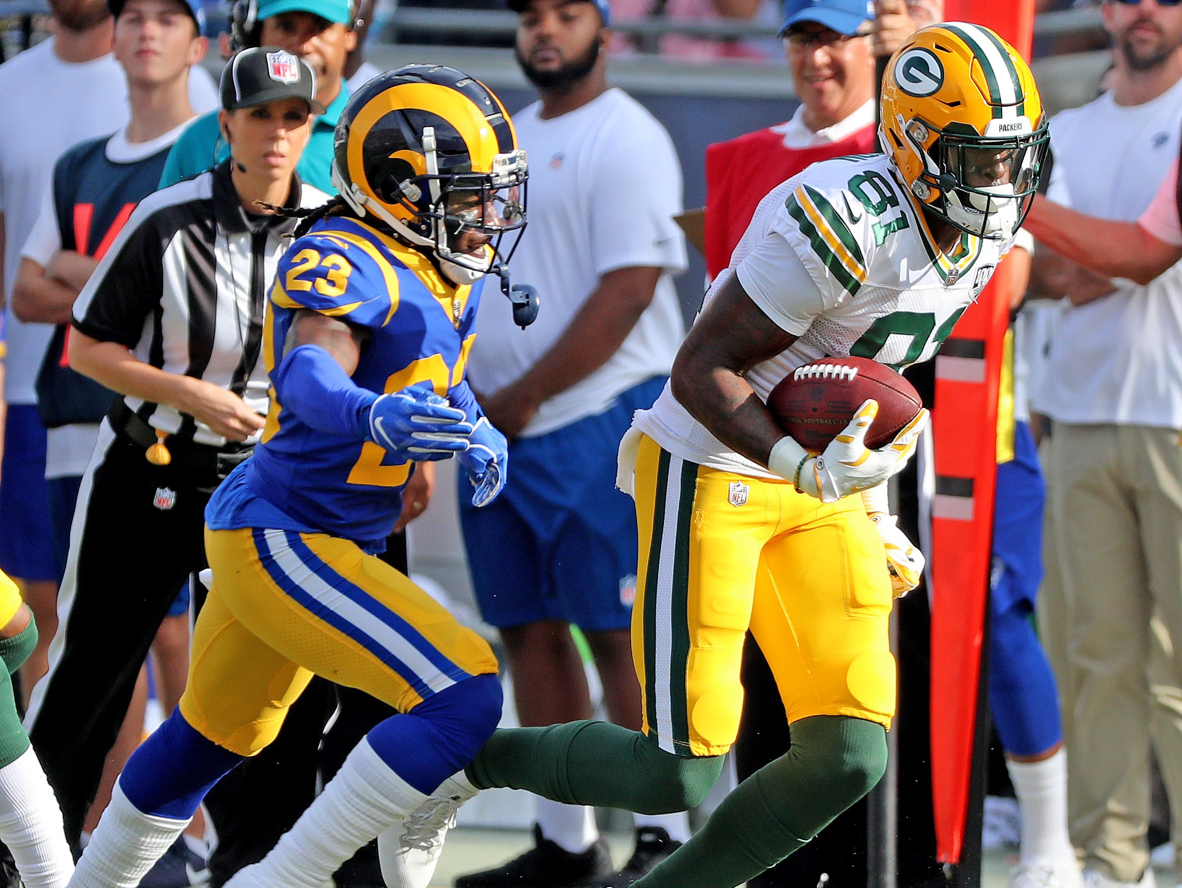 Green Bay Packers wide receiver Geronimo Allison (81) runs after a catch against the LA Rams Sunday, October 28, 2018 at the Memorial Coliseum in Los Angeles.