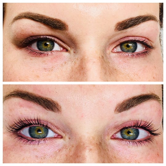 Before and after of Lash Lift and Tint by Leslie Peck.