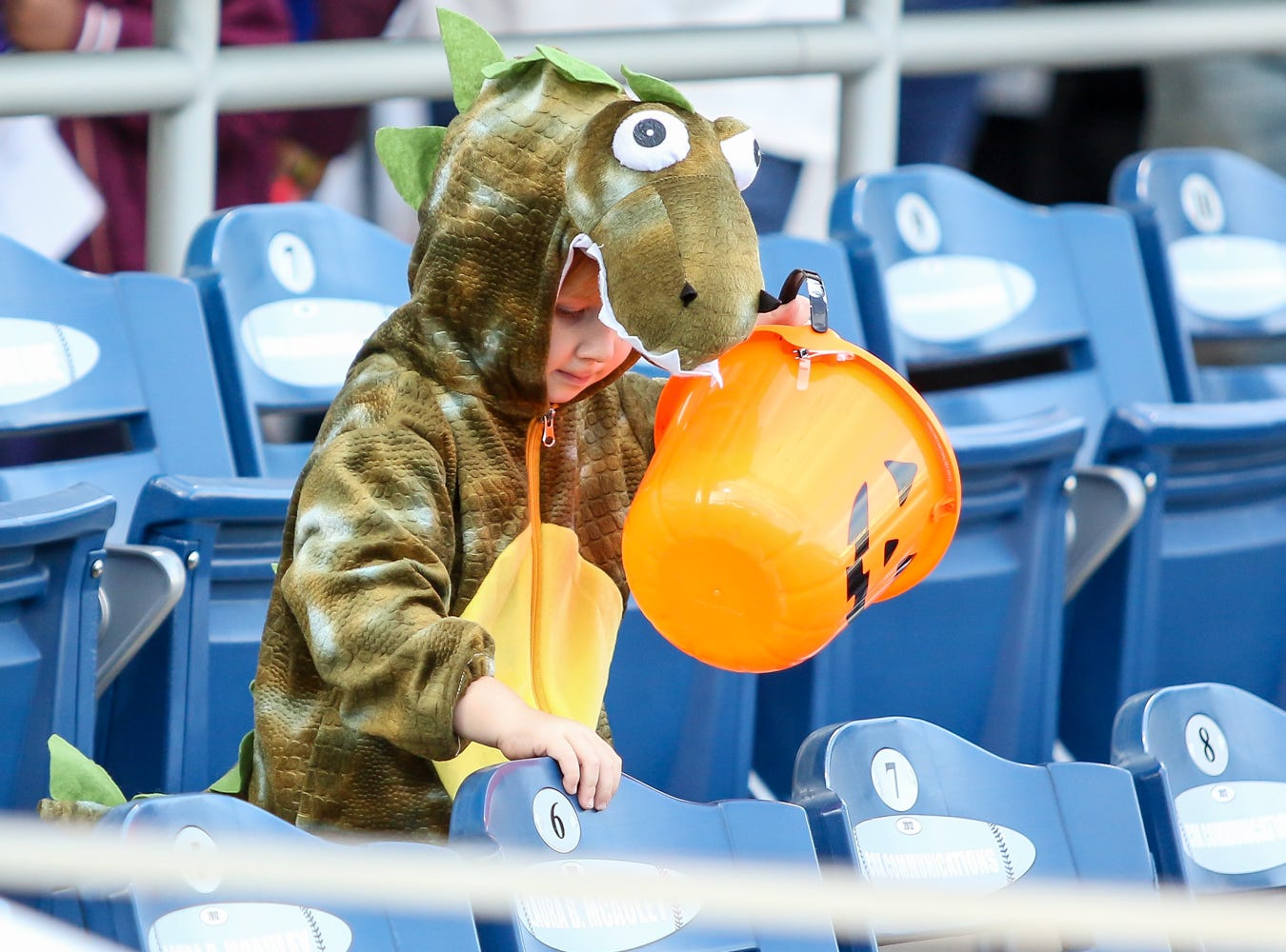 Thousands of people make their way around Blue Wahoos Stadium during Wahooloween, a free trick-or-treating Halloween-themed event hosted by the Blue Wahoos, on Friday, October 26, 2018.