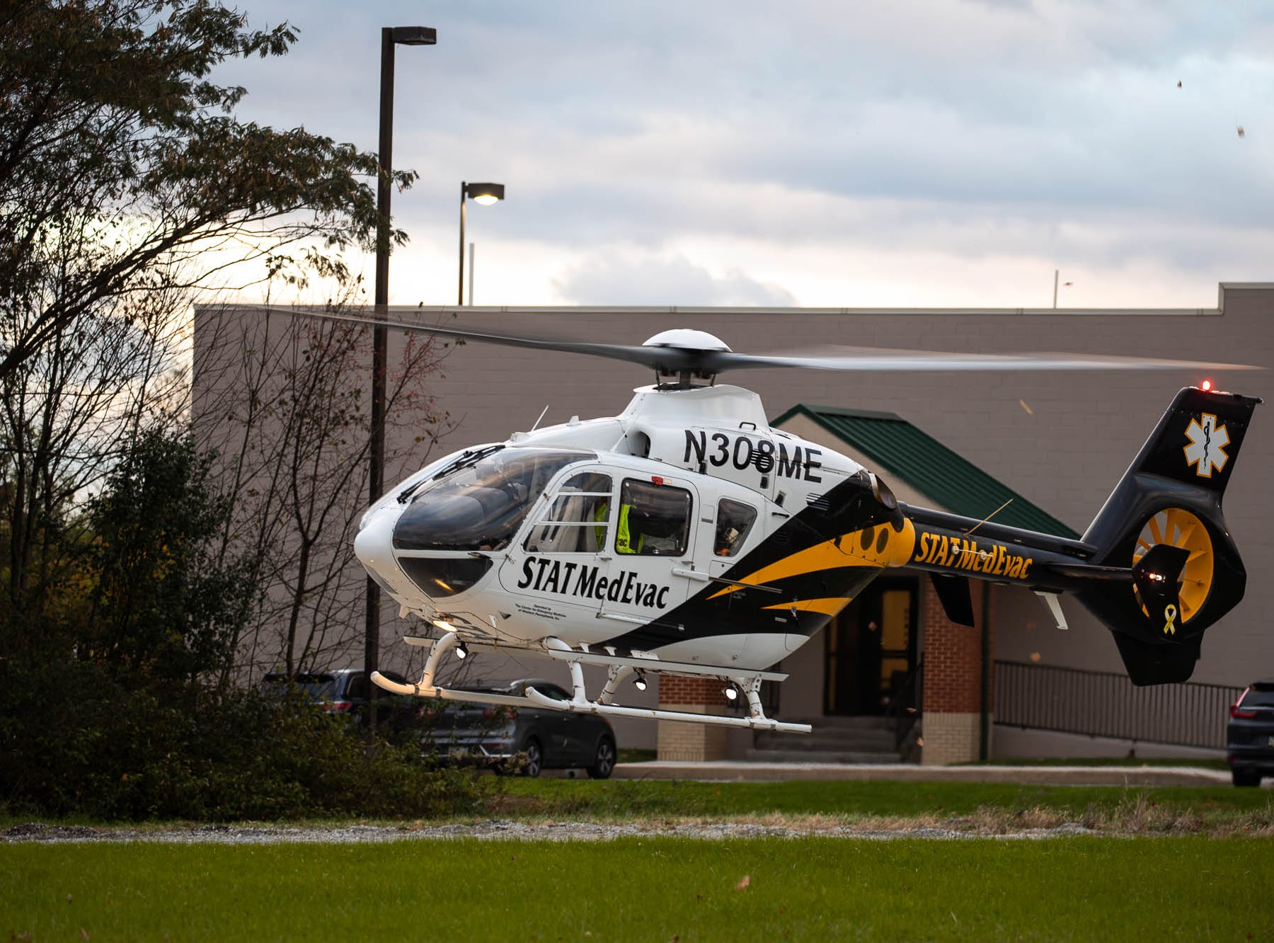 A medical helicopter airlifts a 69-year-old man from a landing zone on the 500 block of West King St. after a domestic-related stabbing on the 300 block of Lexington Way, Monday, Oct. 29, 2018, in Littlestown. Littlestown Police Chief Charles Keller said that a 70-year-old woman stabbed a 69-year-old man, and the man was flown to York Hospital.