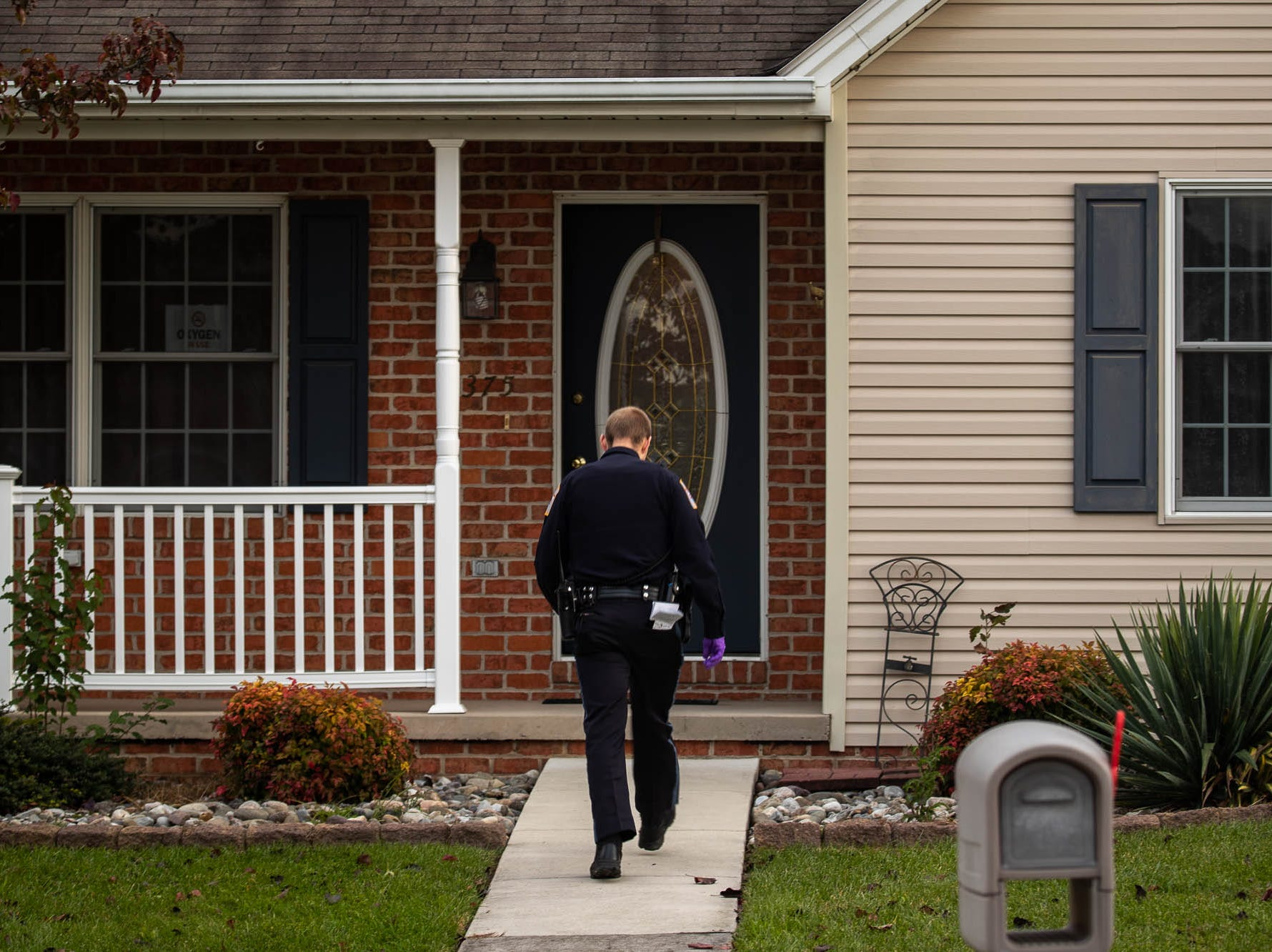 Police investigate the scene of a domestic-related stabbing on the 300 block of Lexington Way, Monday, Oct. 29, 2018, in Littlestown. Littlestown Police Chief Charles Keller said that a 70-year-old woman stabbed a 69-year-old man, and the man was flown to York Hospital.