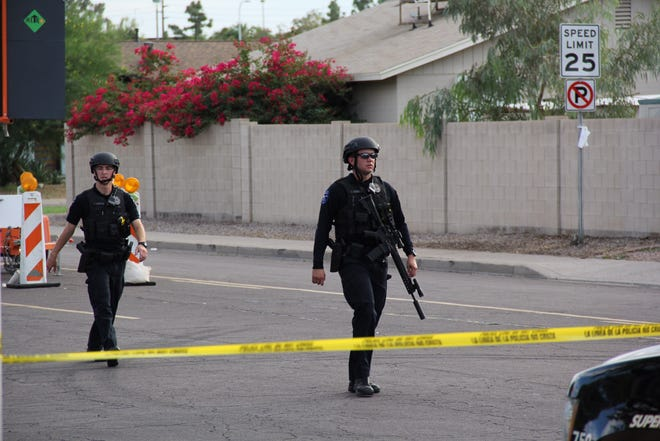 Tempe police are at the scene of a shooting involving officers Oct. 29, 2018, near Baseline Road and Mill Avenue.