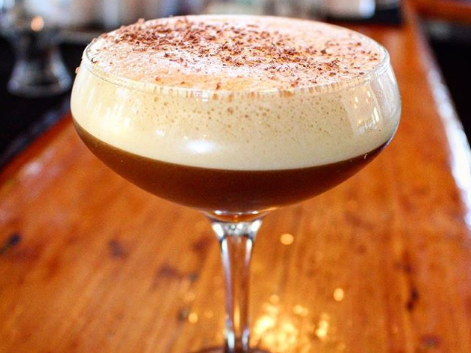 The Frankie, available now at The Coronado in Phoenix, is made with Xanadu coffee espresso, barrel-aged Sun rum, Frangelico hazelnut liqueur and vegan chocolate shavings.