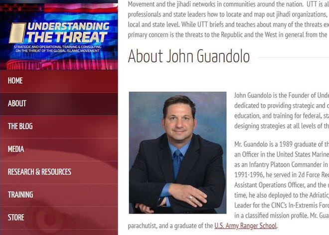 A screenshot shows the website of John Guandolo, a controversial former FBI agent who has led trainings for Arizona law enforcement.