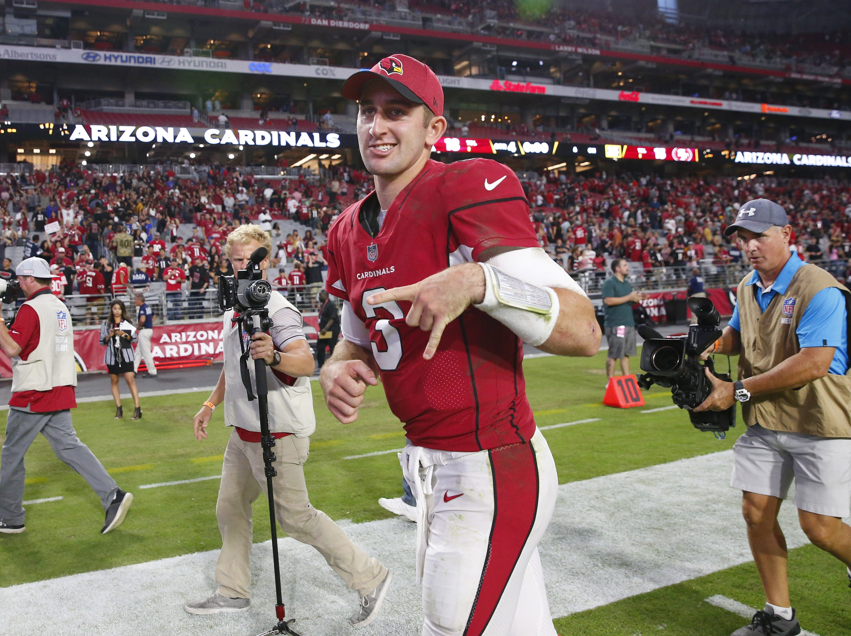 Arizona Cardinals quarterback Josh Rosen (3) reacts after beating the San Francisco 49ers 18-15 on Oct. 28 at State Farm Stadium.
