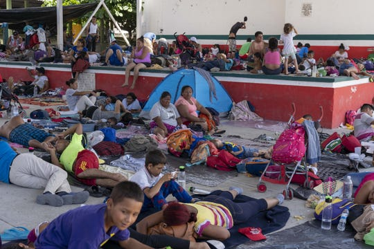 The thousands of migrants from Honduras and other Central American countries traveling in a huge caravan toward the U.S. took a day off to rest on Sunday, Oct. 28, 2018.