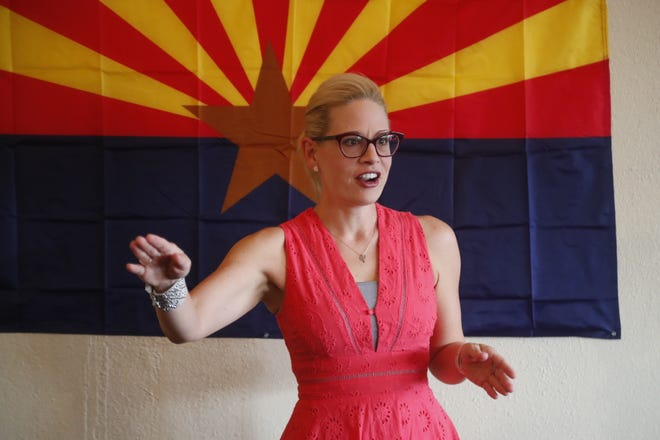 Senate candidate Kyrsten Sinema speaks to supporters and volunteers at the Arizona Democratic Party Glendale Office, Ariz. on October 28, 2018.