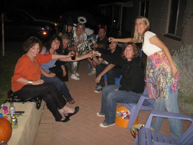 The porch crew on Halloween.