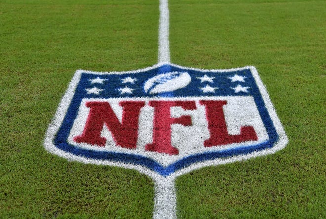 Oct 21, 2018: An NFL logo is seen on the field before a game between the Detroit Lions and the Miami Dolphins at Hard Rock Stadium.