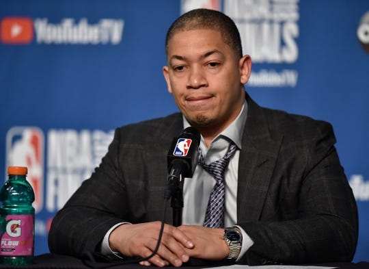 Cleveland Cavaliers coach Tyronn Lue answers questions following Game 3 of the 2018 NFL Finals against the Golden State Warriors.
