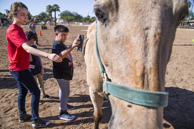 "Tiffany Turner (left), a volunteer, helps Gabriel Reyes, 10, brush ""Rango"" at Hunkapi Farms in Scottsdale, during a program that allows students with autism-spectrum disorder to interact with horses at the farm."