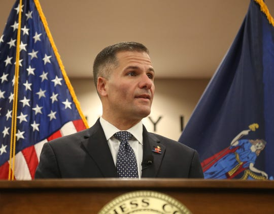 Dutchess County Executive Marc Molinaro speaks during the 2019 Dutchess County budget proposal in the City of Poughkeepsie on October 29, 2018.