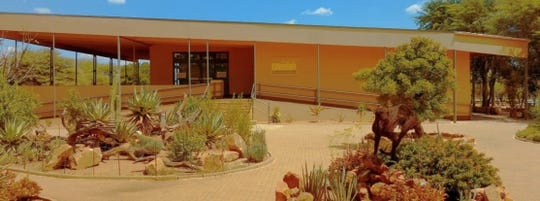 The building that houses the Cheetah Conservation Fund in Namibia features Paola Bari's logo design.