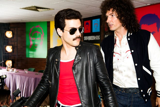 """Rami Malek, left, and Gwilym Lee in a scene from """"Bohemian Rhapsody."""" The movie opens Nov. 1 at Regal West Manchester Stadium 13, Frank Theatres Queensgate Stadium 13 and R/C Hanover Movies."""