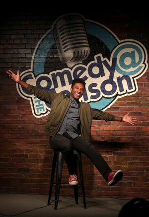 Local comedian Malcolm Whitfield, in his element at Comedy at the Carlson.