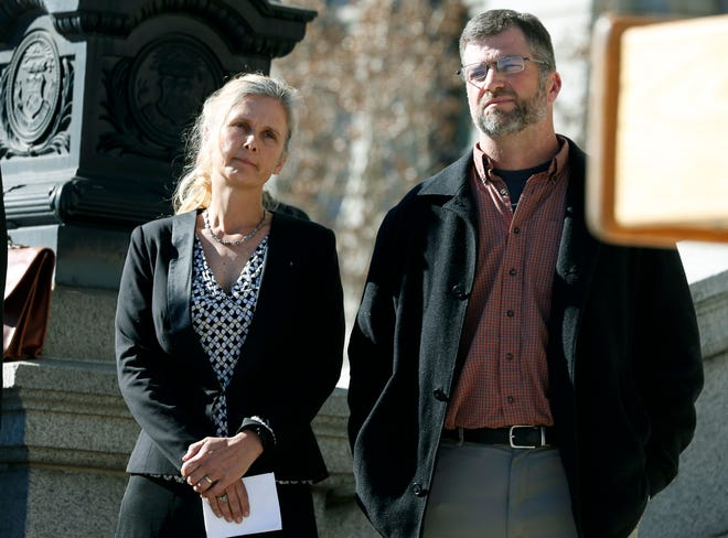 In this Feb. 19, 2015 file photo Hope, left, and Mike Reilly of Pueblo, Colo., attend a news conference in reaction to the announcement that a federal lawsuit is being filed on behalf of the couple by a Washington D.C.-based group to shut down the state's $800-million-a-year marijuana industry, in Denver.