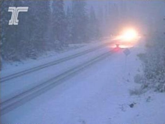 Snow on Santiam Pass Monday, October 29.