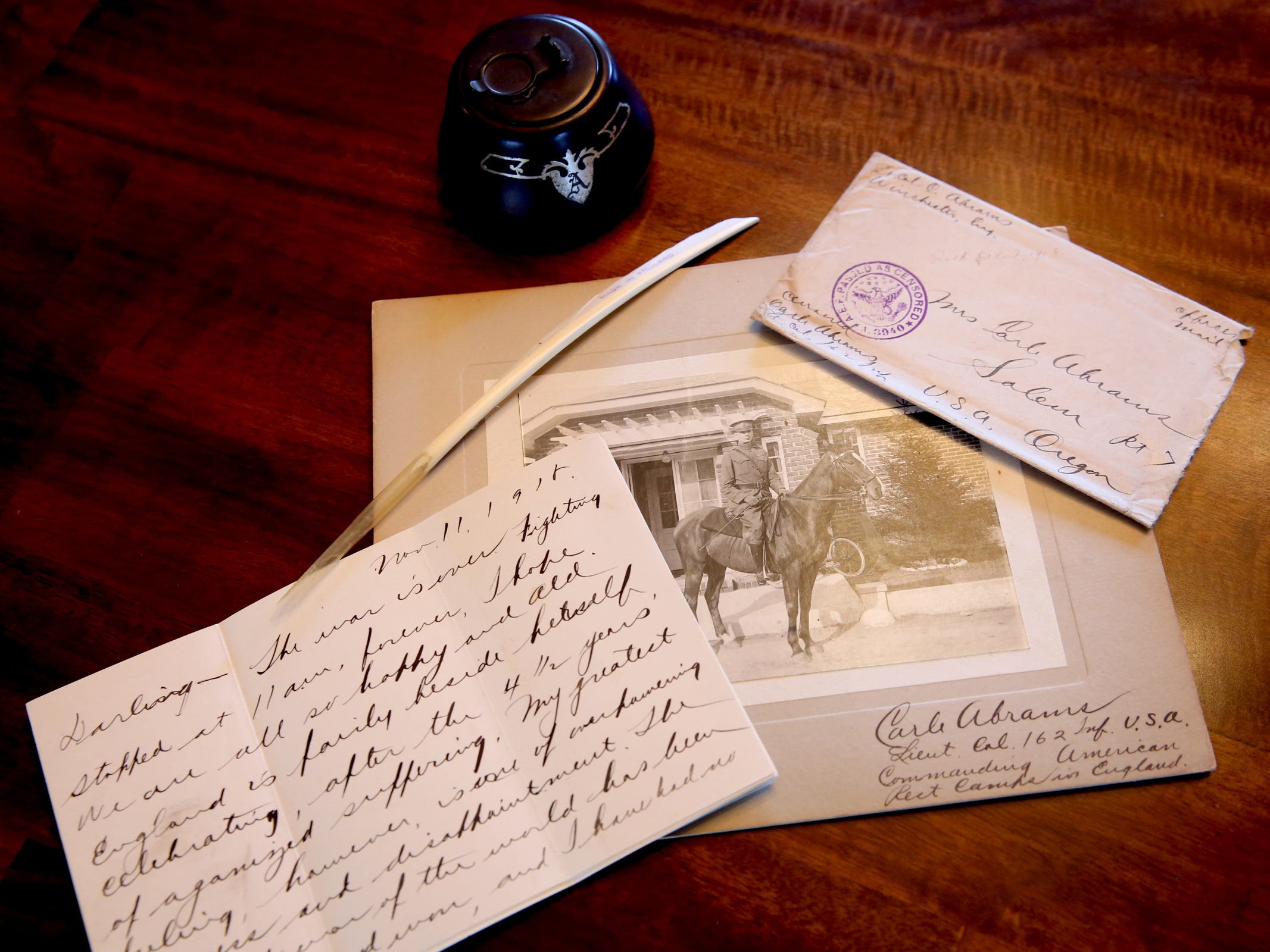 WWI-era letters and a photo of Lt. Col. Carle Abrams, the grandfather of Sue Baker. Baker has letters by her grandfather to her grandmother during WWI, including one written on the last day of the war. Photographed at Baker's West Salem home on Monday, Oct. 29, 2018.