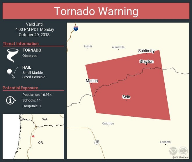 The National Weather Service issued a tornado warning for parts of Marion and Linn counties on Monday.