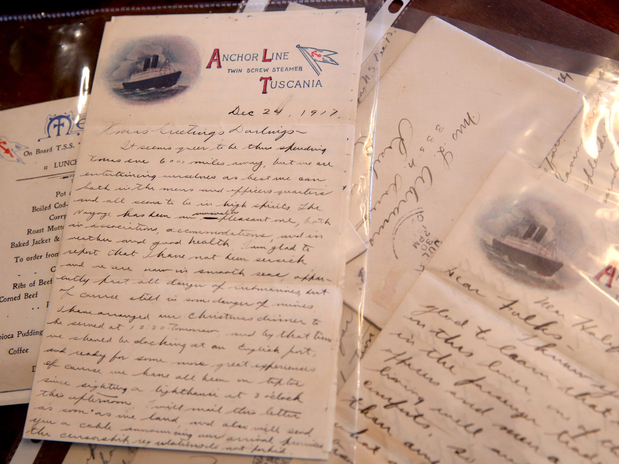 WWI-era letters by Lt. Col. Carle Abrams, the grandfather of Sue Baker. Baker has letters by her grandfather to her grandmother during WWI, including one written on the last day of the war. Photographed at Baler's West Salem home on Monday, Oct. 29, 2018.