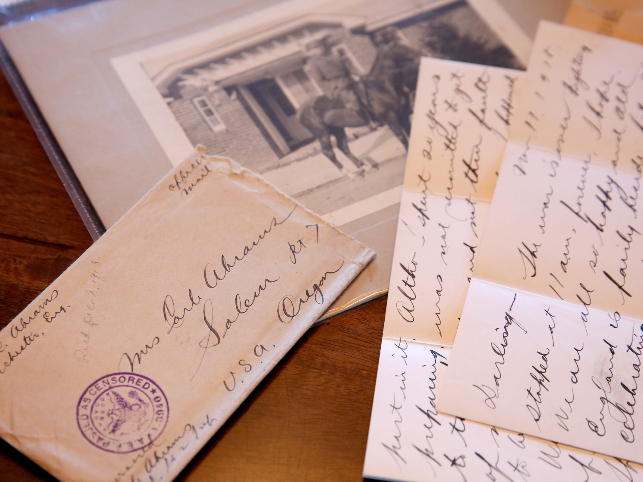 WWI-era letters and a photo of Lt. Col. Carle Abrams, the grandfather of Sue Baker. Baker has letters by her grandfather to her grandmother during WWI, including one written on the last day of the war. Photographed at Baler's West Salem home on Monday, Oct. 29, 2018.